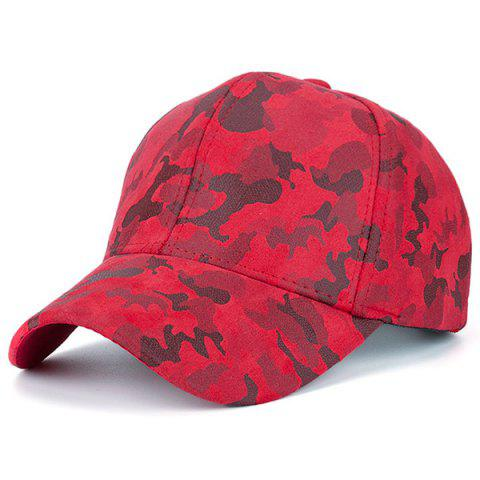 Chic Camouflage Pattern Faux Suede Baseball Hat - RED  Mobile