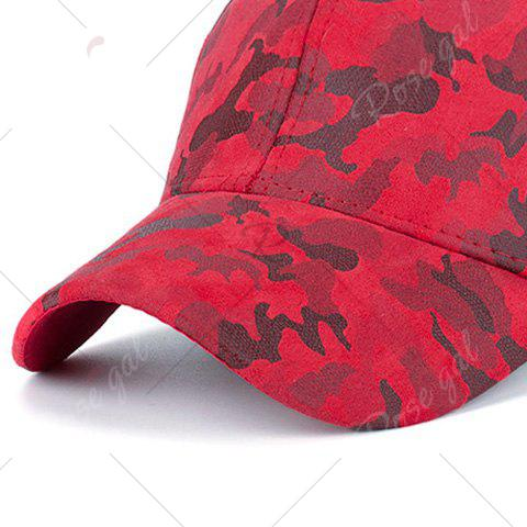 Discount Camouflage Pattern Faux Suede Baseball Hat - RED  Mobile