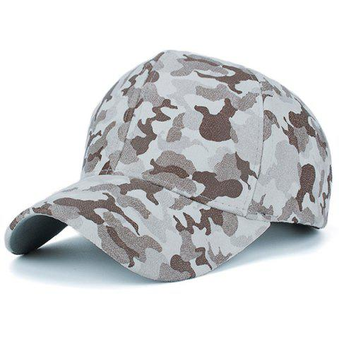 Affordable Camouflage Pattern Faux Suede Baseball Hat - BEIGE  Mobile