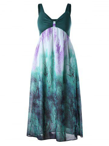 Plus Size Empire Waist Flowy Dress - Green - 5xl