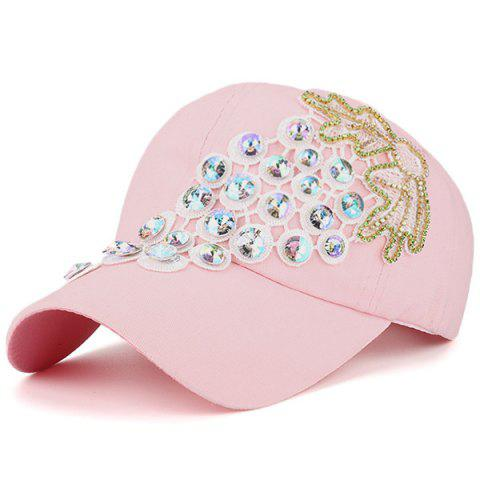 Affordable Grape Design Patchwork Rhinestone Baseball Hat - LIGHT PINK  Mobile
