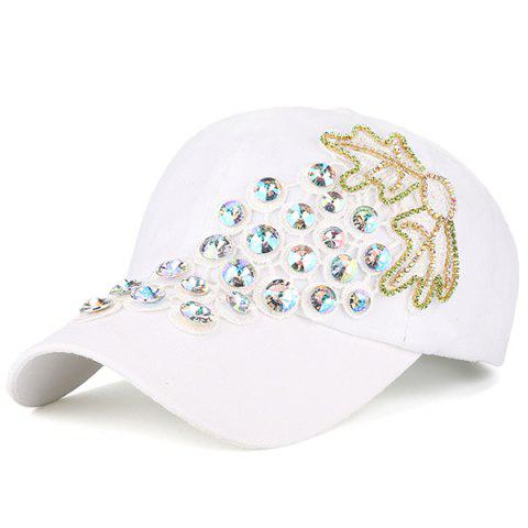Buy Grape Design Patchwork Rhinestone Baseball Hat WHITE