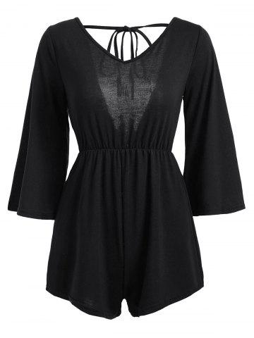 Outfit V Neck Tassel Open Back Romper - L BLACK Mobile