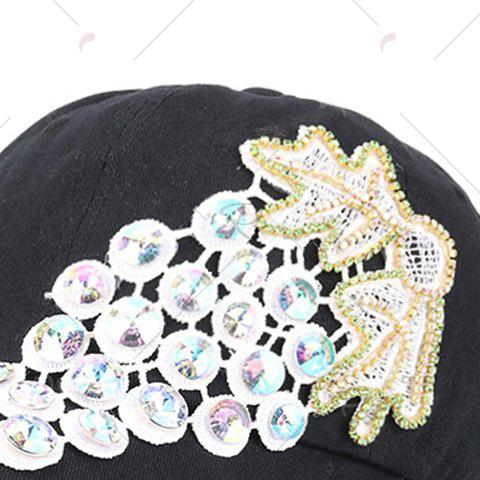 Discount Grape Design Patchwork Rhinestone Baseball Hat - BLACK  Mobile