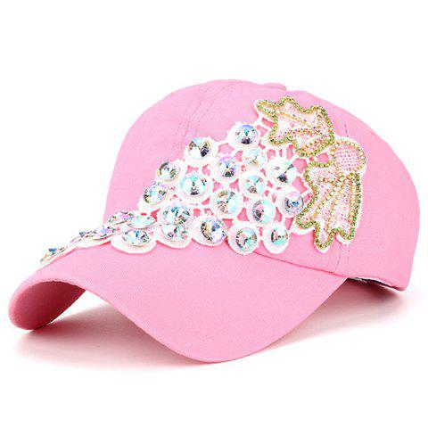 Chic Grape Design Patchwork Rhinestone Baseball Hat - PINK  Mobile