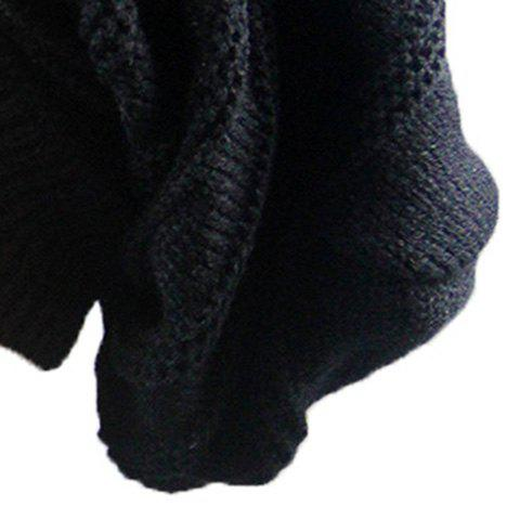 Fancy Stacking Striped Ribbing Knitted Beanie Hat - BLACK  Mobile