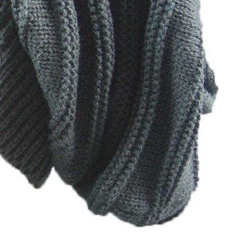 Outfit Stacking Striped Ribbing Knitted Beanie Hat - DEEP GRAY  Mobile