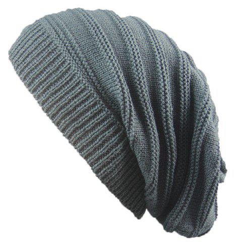 Shops Stacking Striped Ribbing Knitted Beanie Hat - DEEP GRAY  Mobile