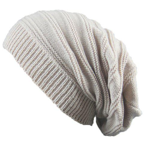 Chic Stacking Striped Ribbing Knitted Beanie Hat - BEIGE  Mobile