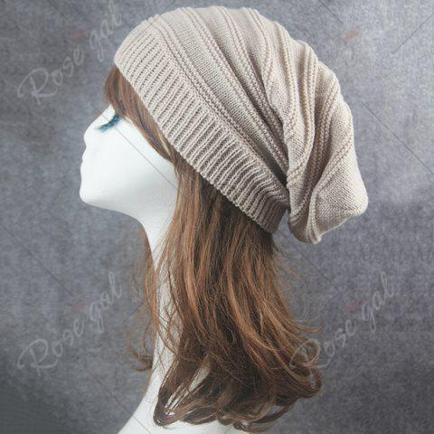 Discount Stacking Striped Ribbing Knitted Beanie Hat - BEIGE  Mobile