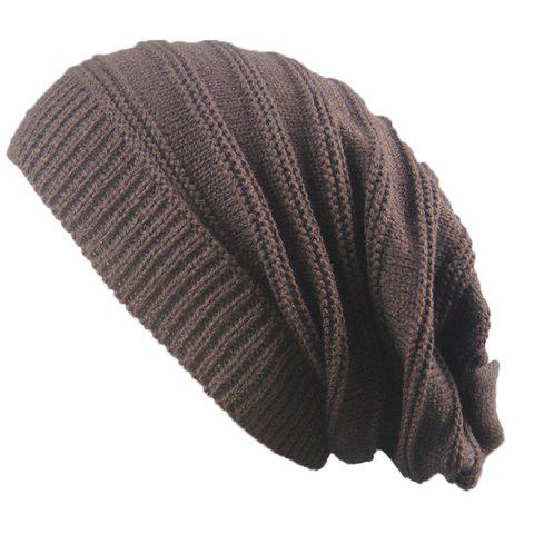 Affordable Stacking Striped Ribbing Knitted Beanie Hat - COFFEE  Mobile