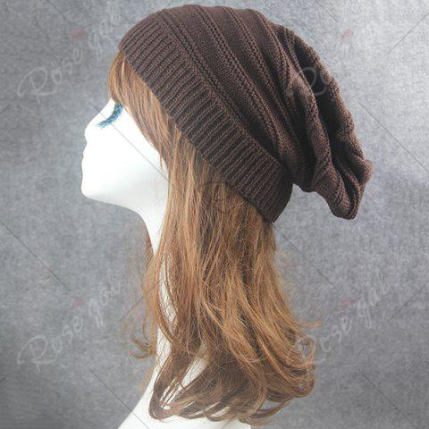 Unique Stacking Striped Ribbing Knitted Beanie Hat - COFFEE  Mobile
