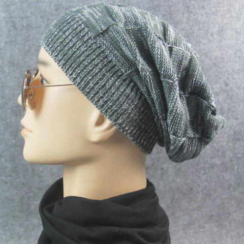 Shop Warm Striped Rib Knitting Beanie - DEEP GRAY  Mobile