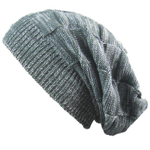 Outfit Warm Striped Rib Knitting Beanie - DEEP GRAY  Mobile
