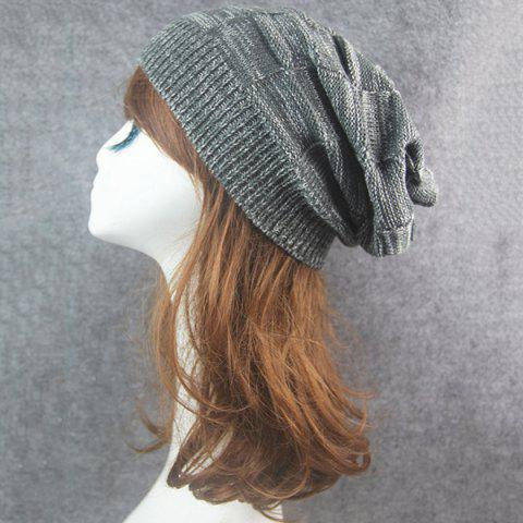 New Warm Striped Rib Knitting Beanie - DEEP GRAY  Mobile
