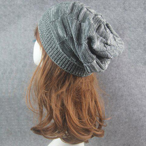 Trendy Warm Striped Rib Knitting Beanie - DEEP GRAY  Mobile