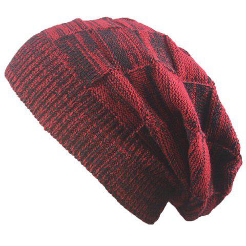 Warm Striped Rib Knitting Beanie - Claret