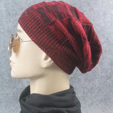Hot Warm Striped Rib Knitting Beanie - CLARET  Mobile