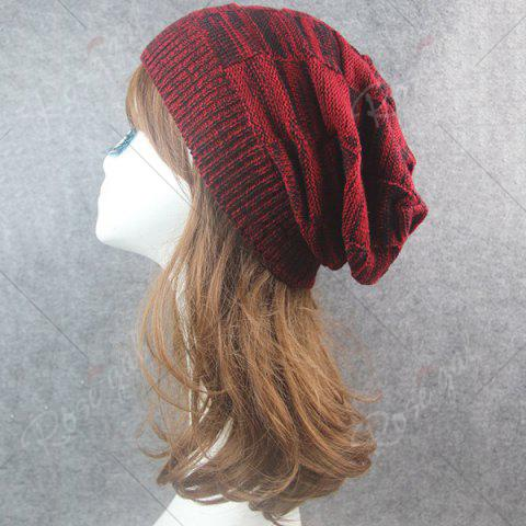 Shop Warm Striped Rib Knitting Beanie - CLARET  Mobile