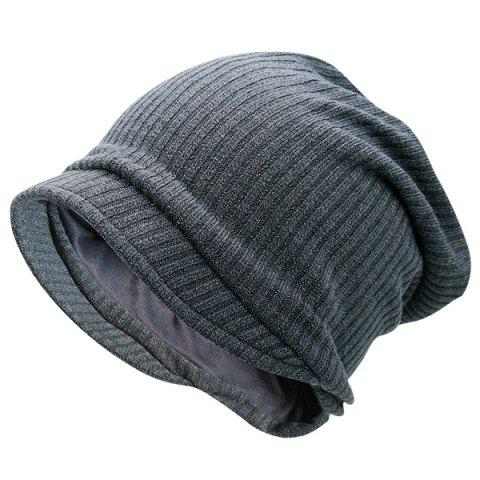 New Warm Stripe Knitting Beanie - GRAY  Mobile