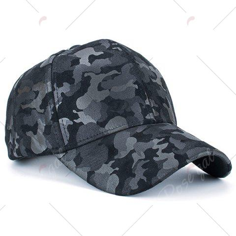 Chic Camouflage Pattern Faux Suede Baseball Hat - BLACK  Mobile