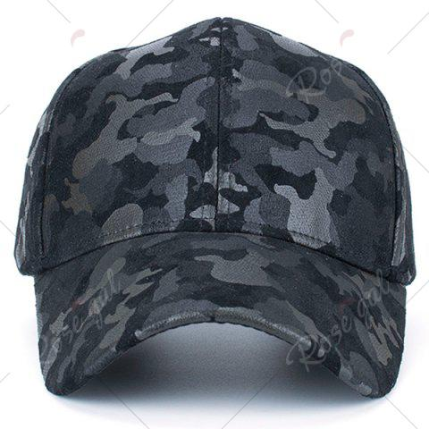 Hot Camouflage Pattern Faux Suede Baseball Hat - BLACK  Mobile