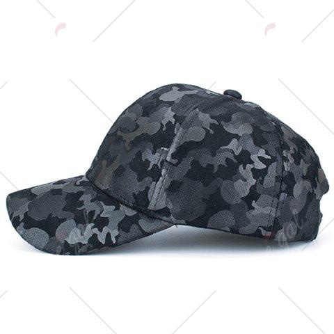 Latest Camouflage Pattern Faux Suede Baseball Hat - BLACK  Mobile