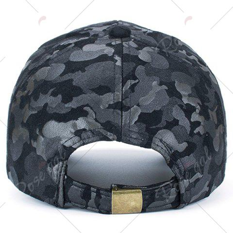 Affordable Camouflage Pattern Faux Suede Baseball Hat - BLACK  Mobile