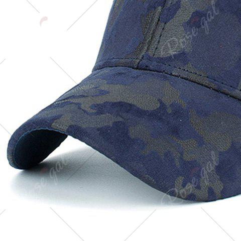 Affordable Camouflage Pattern Faux Suede Baseball Hat - PURPLISH BLUE  Mobile