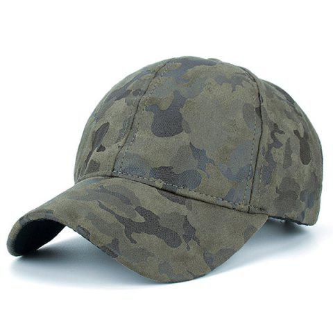 Trendy Camouflage Pattern Faux Suede Baseball Hat - ARMY GREEN  Mobile