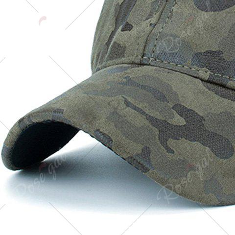 Shop Camouflage Pattern Faux Suede Baseball Hat - ARMY GREEN  Mobile