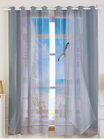 Shops 2Pcs Blackout Faux Window Seagull Pattern Window Curtains GREY WHITE W53 INCH * L63 INCH