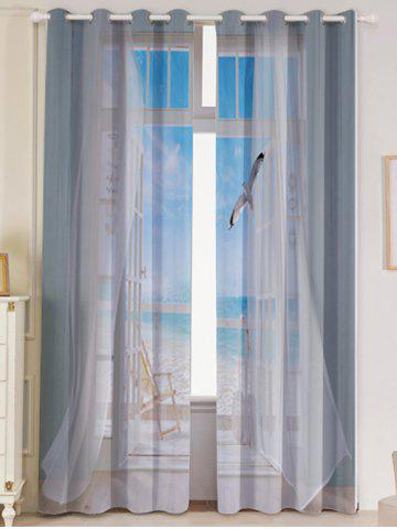 Sale 2Pcs Blackout Faux Window Seagull Pattern Window Curtains - W53 INCH * L84.5 INCH GREY WHITE Mobile