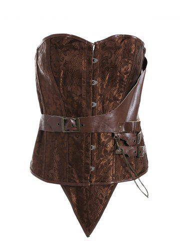 Plus Size Faux Leather Brocade Corset - Camel - 6xl
