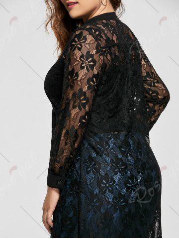 Affordable High Low Lace Long Sleeve Plus Size Top - XL BLACK Mobile