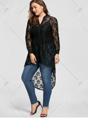 Store High Low Lace Long Sleeve Plus Size Top - 5XL BLACK Mobile