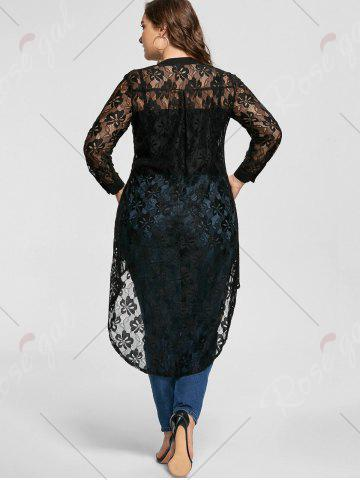 Buy High Low Lace Long Sleeve Plus Size Top - 5XL BLACK Mobile