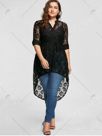 Affordable High Low Lace Long Sleeve Plus Size Top - 5XL BLACK Mobile