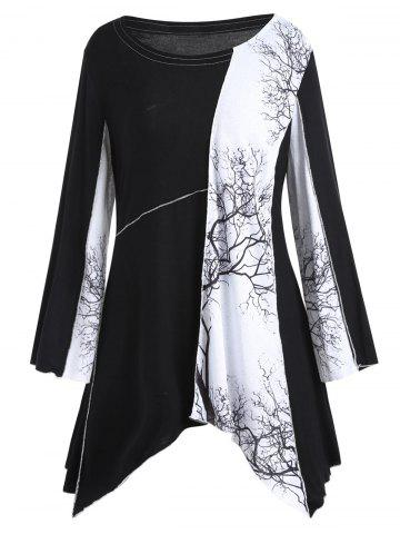 Plus Size Tree Graphic Long Sleeve Asymmetric Top - Black - 5xl
