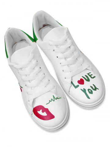 New Faux Leather Letter Printed Athletic Shoes - 39 GREEN Mobile