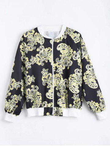 Trendy Plus Size Printed Zip Up Bomber Jacket - 5XL BLACK Mobile
