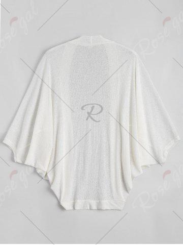 Unique Plus Size Semi Sheer Collarless Batwing Sleeve Top - 5XL WHITE Mobile