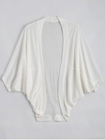 Plus Size Semi Sheer Collarless Batwing Sleeve Top - White - 5xl