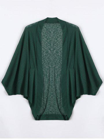 Outfits Plus Size Semi Sheer Collarless Batwing Sleeve Top DEEP GREEN 5XL