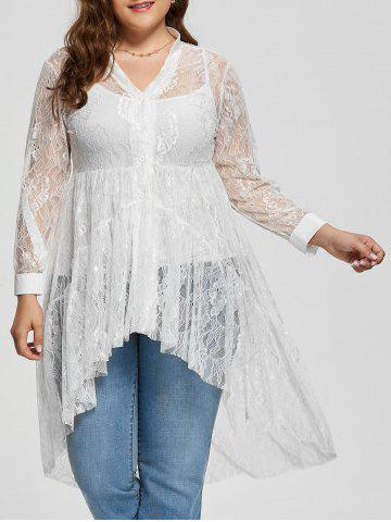 New Long Sleeve Lace High Low Plus Size Blouse - XL WHITE Mobile