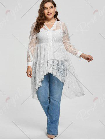 Store Long Sleeve Lace High Low Plus Size Blouse - XL WHITE Mobile