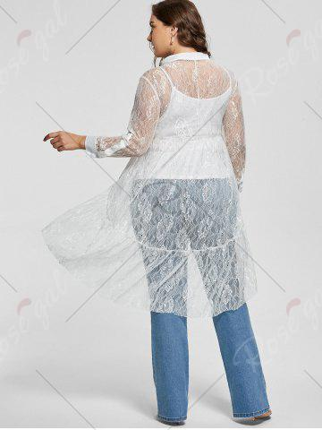 Chic Long Sleeve Lace High Low Plus Size Blouse - XL WHITE Mobile
