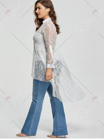 Outfit Long Sleeve Lace High Low Plus Size Blouse - XL WHITE Mobile