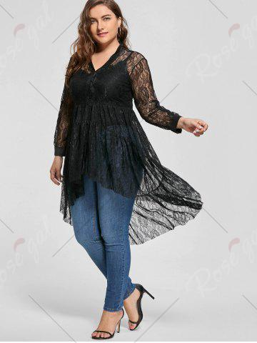 New Long Sleeve Lace High Low Plus Size Blouse - 5XL BLACK Mobile