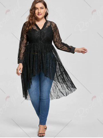 Affordable Long Sleeve Lace High Low Plus Size Blouse - 5XL BLACK Mobile